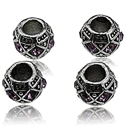 Silver Pink Crystal Large Hole Beads Set - Best Accessories to Create Jewelry for Women Girls and Teens