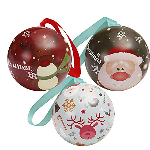 Tinplate Round Ball Boxes Candy Box, Outsta Candy Can Galaxy Reindeer Santa Tree Hanging Decorations Party 2.36 inch (E, 3 Pcs)