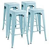 Furmax 30'' High Metal Bar Stool Backless Indoor/Outdoor Use Stackable Bar Stools Dream Blue(4 pack)