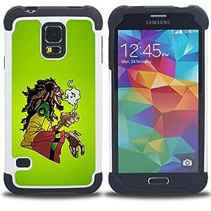 BullDog Case - FOR/Samsung Galaxy S5 I9600 G9009 G9008V / - / Cool Music 420 Marijuana Rasta /- H??brido Heavy Duty caja del tel??fono protector din??mico - silicona suave