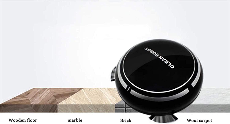 Robot Aspirateur 6.5cm Mince Anti Chute de Charge USB Pet Hair, Hard Floor, Tapis Moyen Pile, Blanc jianyu (Color : Black) Black