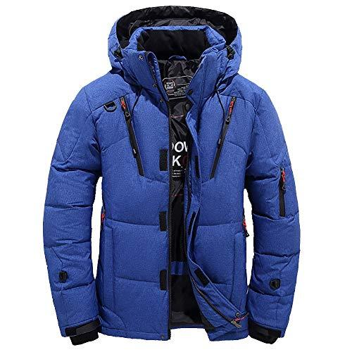 Men Boy Casual Warm Hooded Winter Zipper Parka Outwear Jacket Slim Fit Down Coat (2XL, Blue)