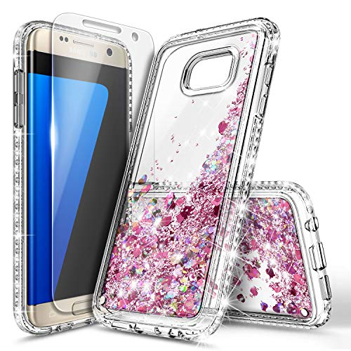 Galaxy S7 Edge Case with Screen Protector for Girls Women Kids, NageBee Glitter Liquid Bling Floating Waterfall Sparkle Cute Case for Samsung Galaxy S7 Edge -Rose Gold