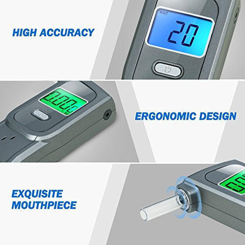 GDbow Portable Breathalyzer Alcohol Tester Recording 32 Testing Results with 5 Mouthpieces for Personal Use -Lead by GDbow (Image #5)