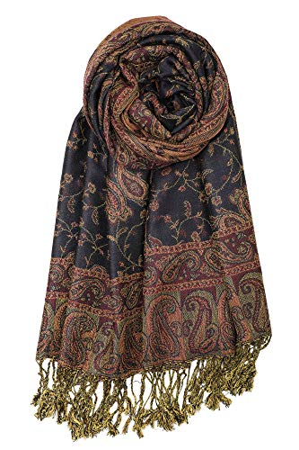 Achillea Soft Silky Reversible Paisley Pashmina Shawl Wrap Scarf w/Fringes (Navy) ()