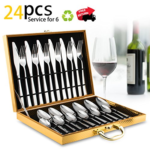 Silverware Set, Lekoton Stainless Steel Flatware Sets 24 pcs Kitchen Home Dinnerware Cutlery Set Tableware Utensil Set Service for 6 with Spoon Fork Knife Luxury Gift Box House Warming Presents Gift