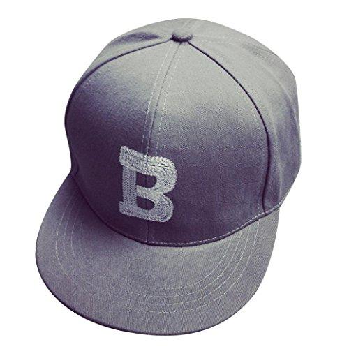 [Iuhan Letter Cotton Baseball Cap Boys Girls Snapback Hip Hop Flat Hat (Gray)] (Baseball Girl Costume)