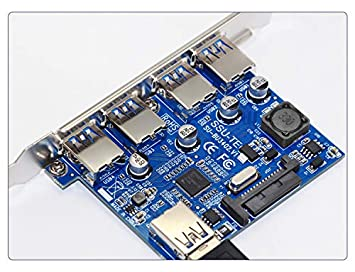 PCI-E to 4 Port USB 3.0 Expansion Card NEC Chipset with 15 Pin Power Supply