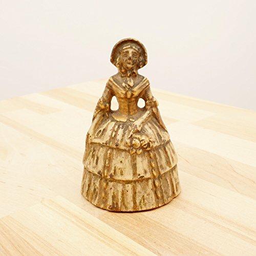Victorian Lady Painted Brass Handbell || Vintage || Hand Bell Dress Bonnet Ornament Figurine
