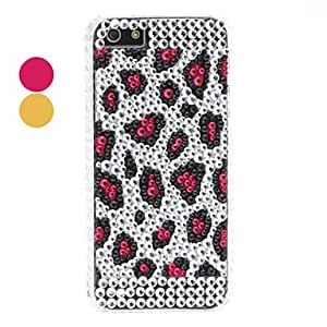 iPhone 5S Case, WKell Rhinestones Style Leopard Print Pattern Hard Case for iPhone 5/5S,Brown