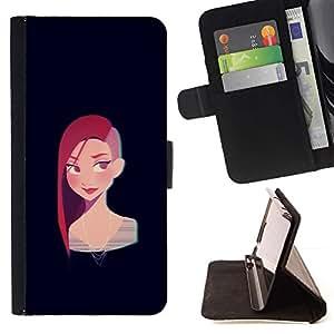 Momo Phone Case / Flip Funda de Cuero Case Cover - Redhead chica punky Negro Cartoon - Samsung Galaxy S6 Active G890A