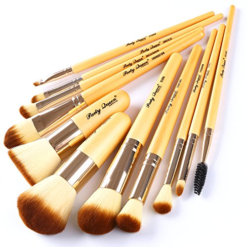 Party Queen Bamboo Makeup Brushes Set 11 Pieces Professional Kabuki Foundation Blending Blush Concealer Eye Face Powder Cosmetics Brush Kit With Box