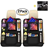 "Luxury Kick Mats,Premium Car Back Seat Protector Organizer with Tablet Holder for Ipad & Android Tablets up to 10.5"" by Vouska (2 Pack),Updated Version"