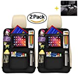 Luxury Kick Mats,Premium Car Back Seat Protector Organizer with Tablet Holder for Ipad & Android Tablets up to 10.5' by Vouska (2 Pack),Updated Version
