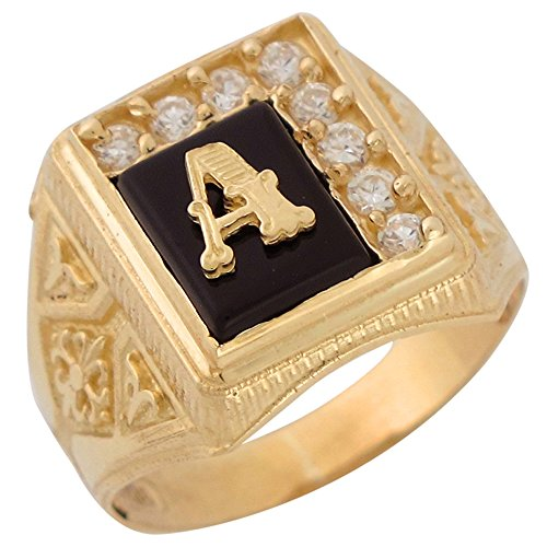 10k Yellow Gold Black Onyx White CZ Accented Mens Classic Letter A Initial Ring -