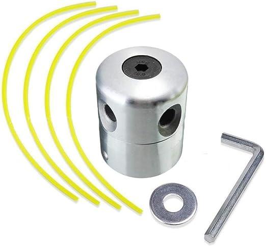 TUEU - Cabezal de desbrozadora Universal de Aluminio para cortacésped de Gasolina: Amazon.es: Jardín