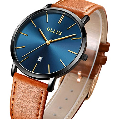 (Mens Ultra Thin Quartz Analog Date Wrist Watch,Men's Watches with Blue Face,Classic Leather Watch with Black Case,Casual Waterproof Watches for Men,Slim Water Resistant 30M Simple Design Wristwatch)