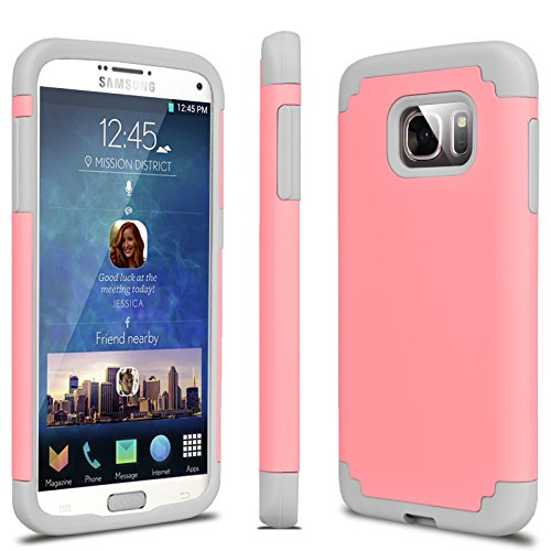 Tekcoo Galaxy S7 Case, [Tbaron Series] [Baby Pink] Shock Absorbing Hybrid Rubber Plastic Impact Defender Rugged Slim Hard Case Cover Shell for Samsung Galaxy S7 S VII G930 GS7 All Carriers