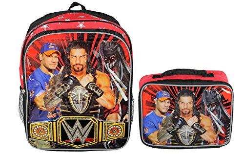 WWE Wrestling Boys School Backpack Book Bag Lunch Box Combo Set by Wrestling