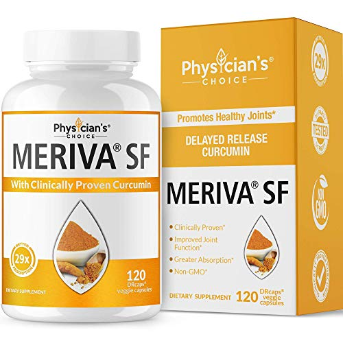 Meriva Turmeric Curcumin, Clinically Proven Meriva 500 SF, 29x Greater Absorption, Extra Strength Joint Support & Anti Inflammatory Curcumin Supplement, Non-GMO, Soy Free, 120 Vegan Capsules