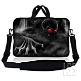 LSS 15.6 inch Laptop Sleeve Bag Compatible with Acer, Asus, Dell, HP, Sony, MacBook and more | Carrying Case Pouch w/ Handle & Adjustable Shoulder Strap, Red Eye Dark Ghost Zhombie Skull