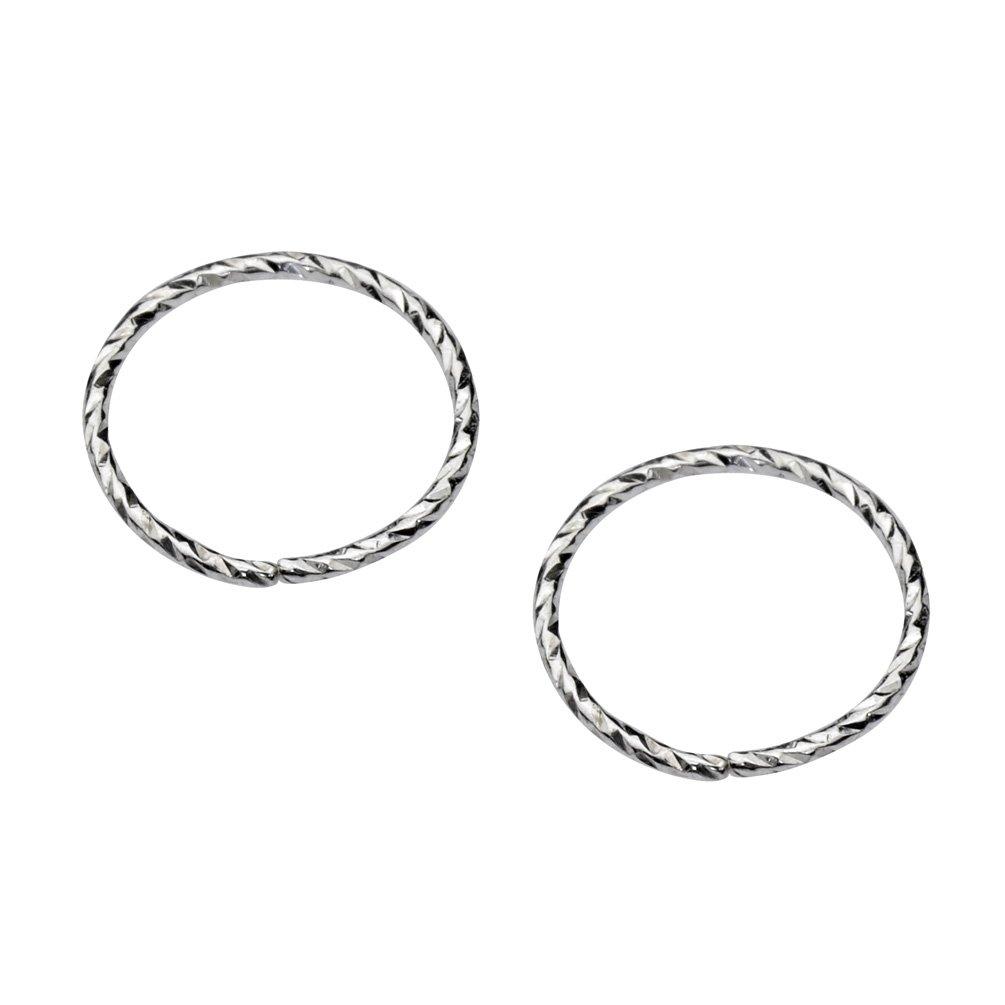 Sampson Nose Ring Hoop - One Pair - Tragus Cartilage Helix Earring - Textured Sterling Silver - 22 Gauge 7mm Inner Diameter
