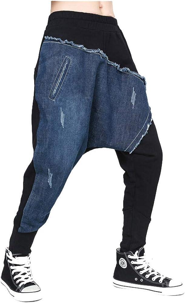 BaronHong Hippie Harem Pantalones Mujer Drop-Crotch Algodón Denim ...