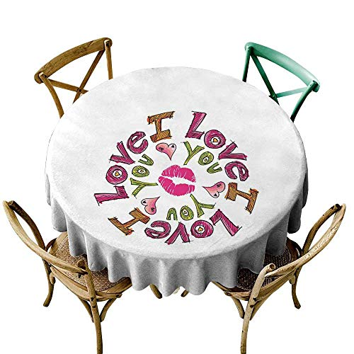 (Wendell Joshua Premium Round Tablecloth 60 inch I Love You,Comical Sketch of Lettering in Circular Design with Valentines Hearts a Smooch,Multicolor Polyester Fabric Table Cloth)