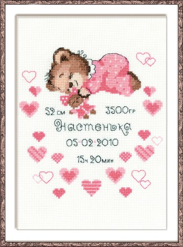 RIOLIS Girls Birth Announcement Counted Cross Stitch Kit-7.125