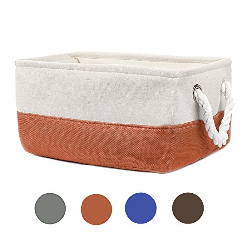 Lovita Foldable Storage Basket with Strong Cotton Rope Handle - Set of 2 (M, Orange)