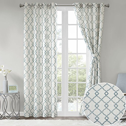 Aqua Curtain - Comfort Spaces 2 Panel Curtains - Bridget Faux Linen Window Curtains 95 inch Length Grommet Top with Tie Backs - White/Aqua Fretwork Embroidery Design