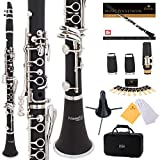Mendini by Cecilio B Flat Beginner Student Clarinet with 2 Barrels, Case, Stand, Book, 10 Reeds, Mouthpiece and Warranty (Ebonite): more info