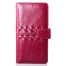 SAIERLONG® Womens Bifold Wallet Rose Red Genuine Leather Wallets