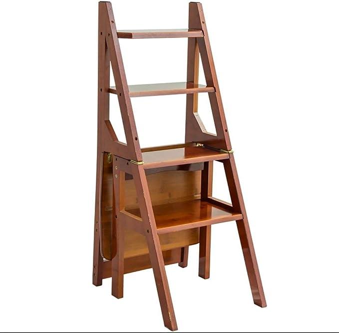 Xiao Jian- Multifunción Paso heces Inicio Silla Plegable Escalera Completamente en Madera Silla de la Escala Doble propósito Flower Stand Esquina heces Taburetes Escalera: Amazon.es: Hogar