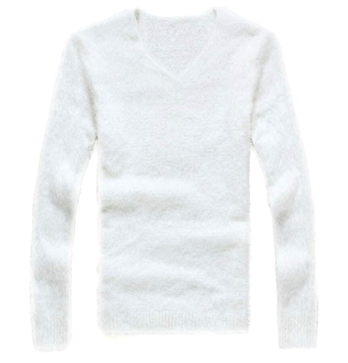 CBTLVSN Mens Knitting Mohair Solid Color Slim V-Neck Pullover Sweaters