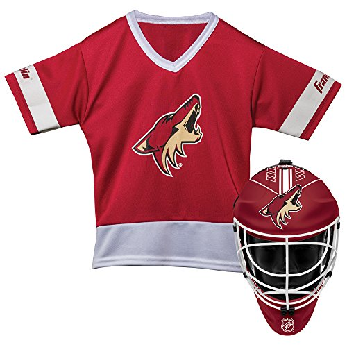 Franklin Sports Arizona Coyotes Kid's Hockey Costume Set - Youth Jersey & Goalie Mask - Halloween Fan Outfit - NHL Official Licensed -
