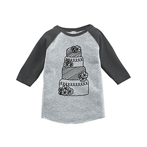 7 ate 9 Apparel Girl's Wedding Cake Grey Raglan Small by 7 ate 9 Apparel