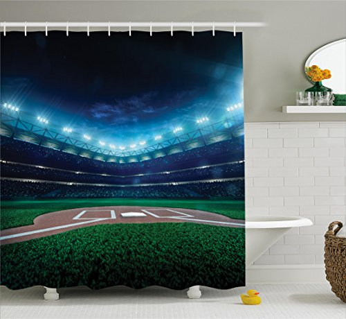 Sports Decor Shower Curtain Set By Ambesonne, Professional Baseball Field At Night With Spotlights Playground Stadium League Theme, Bathroom Accessories, 69W X 70L Inches, Green Blue