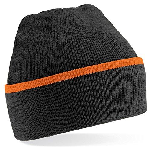 Beechfield - Gorro de punto para invierno estilo Beanie unisex Negro/Naranja
