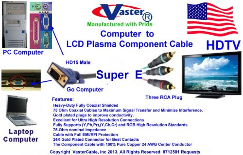 SuperEcable - HD15 to 3 RCA - 100 Ft Computer to LCD Plasma Component Video Cable