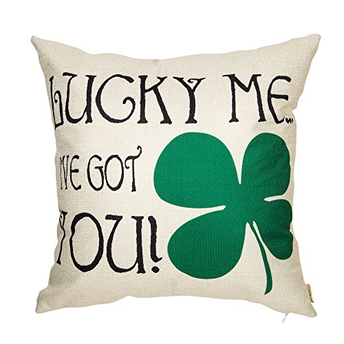 Fahrendom Lucky Me, I've Got You Green 4 Leaf Clover Funny Quote Saying Cotton Linen Home Decorative Throw Pillow Case Cushion Cover with Words for St. Patrick's Day Sofa Couch 18 x 18 Inch -