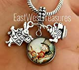 EWT Alice In Wonderland, Mad hatter, Tea Party, white rabbit charm Pendant - for bracelets or necklaces