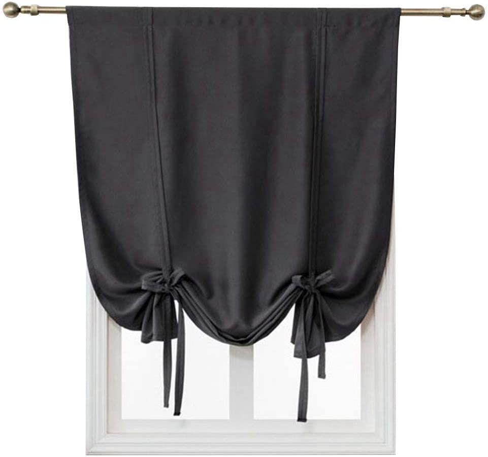 HomeyHo Window Blinds Tie Up Blinds Tie Up Blackout Curtains Thermal Insulated Thermal Curtains Tie Up Room Darkening Small Curtains for Living Room Roman Curtain Thermal, 31 x 47 Inch, Black