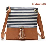 Crossbody Shoulder Bag,Messenger Bag Handbag with Double Zipper for Women Lady Girls by Ubags (Blue Stripe)