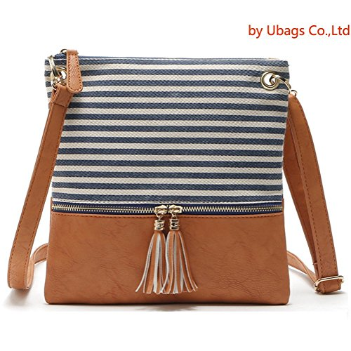 Blue Fabric Handbags - Crossbody Shoulder Bag,Messenger Bag Handbag with Double Zipper for Women Lady Girls by Ubags (Blue Stripe)