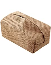 Tanshine Cotton and Linen Tissue Box Cover Simple Japanese Tissue Box Holder Natural Material Tissue Box Cover Rectangular Creative Gadgets for Kitchen, Bathroom, Car