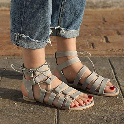 À Artificiel Cuir Flip Gris toe Womens Flop Pantoufles Lacets Plates Sandales Boho Liquidation Ankel Pour Peep D'été Extérieure Chau Sandals Chaussures Dames Gladiator En Mode Oxq80