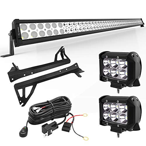 YITAMOTOR LED Light Bar 50 inches Combo Light Bar & 2pc inches 18W Spot Light Pods & Wiring Harness & Roof Mounting Brackets Compatible for 2007-2018 Jeep Wrangler JK (18 Mounted Foam Tires)