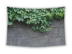 Gear New Wall Tapestry For Bedroom Hanging Art Decor College Dorm Bohemian, Green Leaves Of Ivy Virginia Creeper On Bare Boards Of A Wooden Fence, 60x51