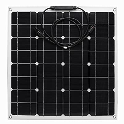 uxcell 50W 18V 12V Solar Panel Kit Charger Monocrystalline Lightweight Flexible with MC4 Connector Charging for RV Boat Cabin Tent Car (Compatibility with 18V and Below Devices)